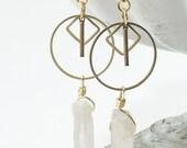 Geometric Quartz Earrings | Dangly Earrings | Brass