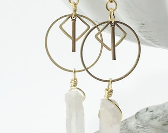 Geometric Quartz Earrings | Dangly Earrings | Brass