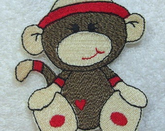 Baby Boy Sock Monkey Embroidered Iron On or Sew On Applique Patch Ready to Ship