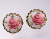 Vintage Guilloche Enamel Rose Hand Painted Stud Earrings Jewelry Jewellery