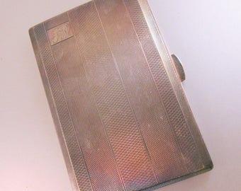 Vintage English EPNS Cigarette Case Engine Turned Monogrammed JP Use for Business Card Case