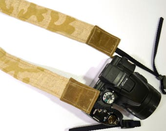 Camera Strap, narrow / padded with foam for comfort, Darby Mack / dslr gear / photography gear / Wax Canvas, Linen with coral applique