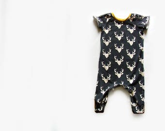 Baby Short sleeve Harem Romper,baby clothes in navy stags