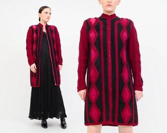 Vintage 70s Patchwork Suede Jacket - Boho Wool Knit Long Cardigan - Zip Up Hippie Coat Raspberry Pink Black - Medium M