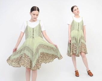Vintage 90s Green Floral Sundress Boho Handkerchief Hem Spaghetti Strap Dress - Embroidered Grunge Festival - Lace Up Mini Dress S M
