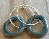 Ceramic earrings--slate blue on sterling silver hoops