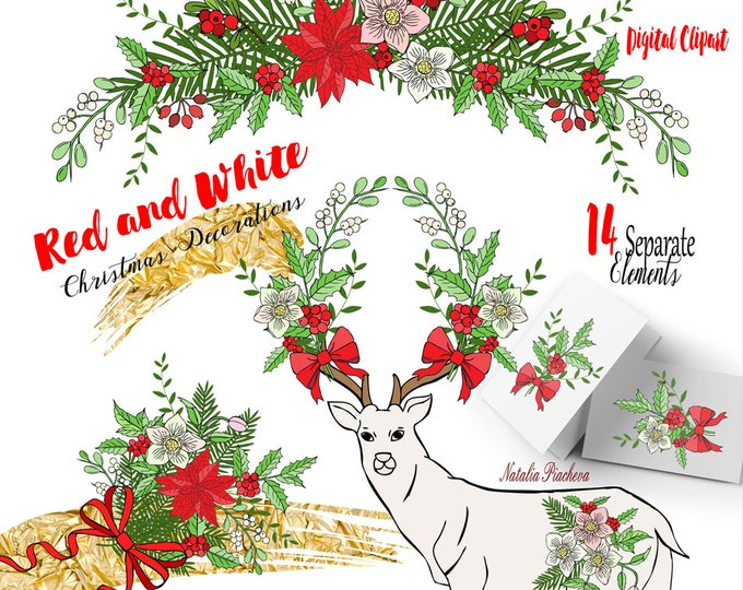Red and White. Clip art, Christmas clipart, poinsettia, mistletoe, deer, Christmas tree, poinsettia, bow, wreath