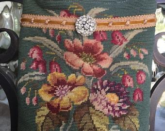 Vintage Needlepoint Flowers, Velvet Chenille, Rhinestone Brooch Handbag