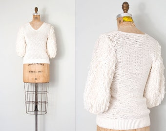 vintage 1980s sweater / early 80s big puffy sleeve sweater / looped knit