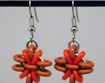Red Anemone Earring, fun and funky drop earring, chainmaille earring, red earring