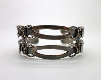 Vintage Mexican Style Sterling 925 Silver Cuff Bracelet