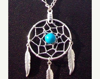 ON SALE DREAM Catcher necklace, Turquoise & silver, 3 feathers, dreamcatcher necklace with turquoise