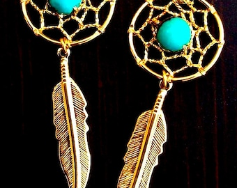 "3"" Long Gold & Turquoise Dream catcher earrings, gold feather earrings, dreamcatcher earrings, gold dream catcher earrings"