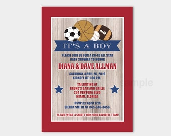 All Stars Sports Rustic Red and Navy Boys Baby Shower Invitation | Couples, Coed, Co-ed Sports Invitation Printable bs-060