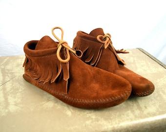 Vintage Fringe Minnetonka Moccasins Booties - Size 7