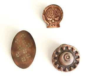 Copper Brooches/Scatter Pins/Skull/Flowers/Sun and Moon
