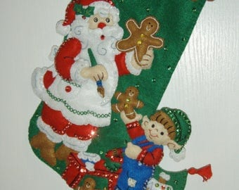 "Bucilla Felted Completed 16"" GINGERBREAD SANTA Christmas Stocking"