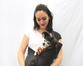 Pet Sling Carrier- Black Dog carrier with Pocket