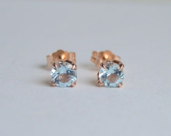 Aquamarine Gold Earring, Aqua Earring, Rose Gold Stud Earring, Aquamarine Studs, Floral Studs, Gold Post Earrings, Faceted Round Aquamarine