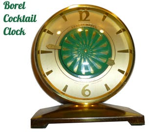 Ernest Borel Cocktail Clock with Green Spinner. Hypnotic Mesmerizing  Swiss Clock Vintage Circa 1960. Swiss Movement Working.