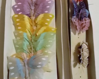 "19 Feather Butterflies, 11 Butterflies 2 3/4"" W x 1 3/4"" H and 8 Butterflies 1 1/4"" W x 1 1/8"" H Assorted Colors, Wedding, Decorative, Craft"