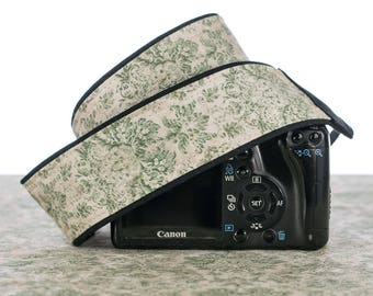 dSLR Camera Strap, SLR, Mirrorless, Olive Floral Damask, Camera Neck Strap, Pocket, Canon or Nikon Strap, Photography, 272