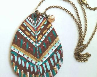 Leather necklace painted leather painted leather pendant handmade pendant boho pendant tribal print necklace feather necklace