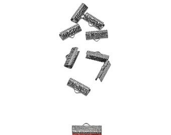 50pcs.  20mm  (3/4 inch) Gunmetal Ribbon Clamp End Crimps - Artisan Series