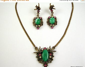 35% Off Sale Vintage Bird Necklace and Earrings with Green Cabochon, Pearls and Pink Rhinestones