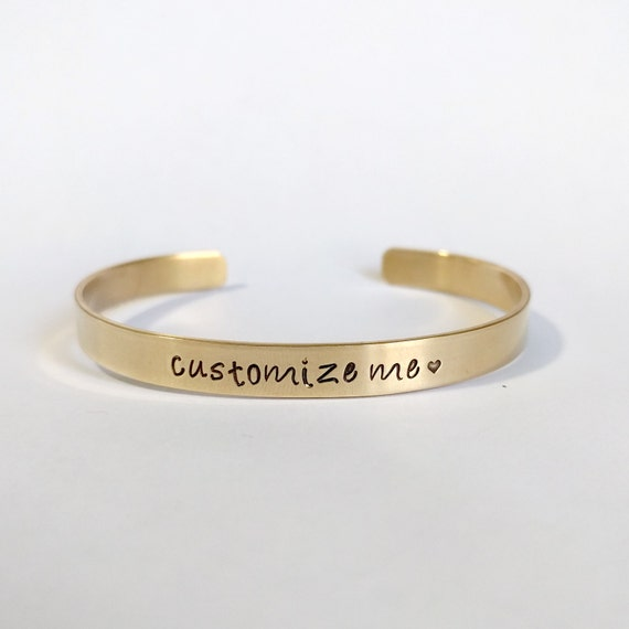 Personalized Brass Bracelet, Gold-tone, Custom Jewelry, Mother's Jewelry, Geeky Bracelet, Secret Message, Inside Stamping, Hand Stamped