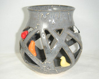 Rainbow Bird Candle Holder Luminary Gray