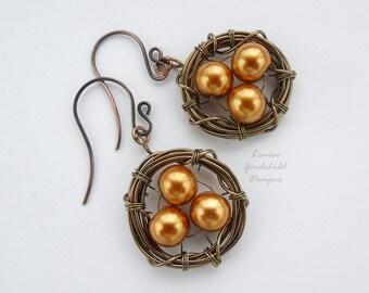 Birds Nest earrings, birds nest jewelry, nest with eggs, birds nest earrings, wire nest earrings, gold pearl earrings, easter earrings