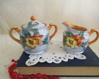 Cream and Sugar Flower Blue and orange luster Japan Trico