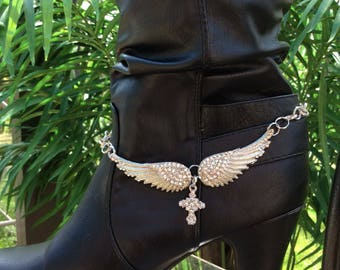 HandCrafted  Rhinestone Angel Wing And Cross Boot Bracelet