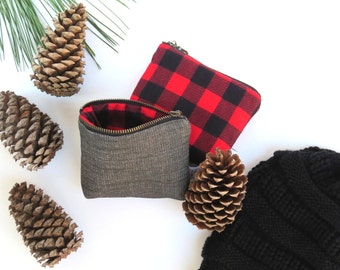 Ity-Bity Zipper Pouch - Lumberjack - mini change pouch essential oil bag coin purse Zip Wallet Money Wallet Change Purse Gift Card Holder