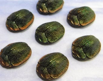 Rare 1920s SCARAB Vintage Glass Cabachon Stones Egyptian Revival Art Deco 1 pc S-52
