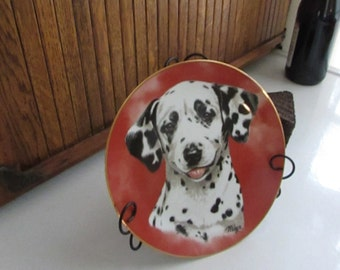 Dalmatian Collector Plate by Artist Linda Picken – Black and Black Dog Plate – Princeton Galleries – Vintage Decorative Collectible Plate
