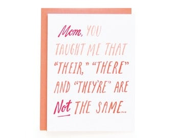 Mother's Day Grammar - letterpress card