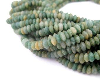 140 Green Nephrite Jade Saucer Beads - Tiny Nephrite Beads - 5mm Gemstone Beads - Green Saucer Beads - Matte Jade Beads (AFG-SCR-GRN-254)