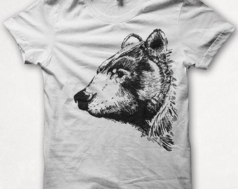 Womens Tshirt, Graphic Tee, Black Bear, Bear Shirt, Forest and Fin, Screenprint T - White