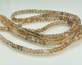 Golden Moonstone Rondelles AAA Moonstone Rondelles Micro Faceted Gemstone Beads  3-5mm