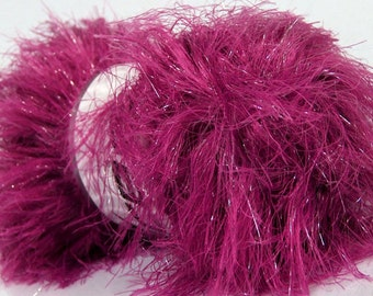 ICE YARNS Faux Fur Glitz dark pink 1 skein 100gr lurex polyester  novelty fancy bulky shimmering  knitting crochhet supplies 36763
