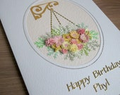 Quilled flower birthday card, quilling hanging basket, personalised with name and age