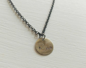 Hand stamped Michigan necklace. Home. Bronze. Brass. State Necklace. Personalized Jewelry. Michigan Jewelry.