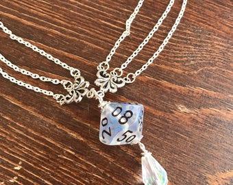 dungeons and dragons pendant dice pendant D100 translucent pendant dice jewelry dice necklace transparent geek