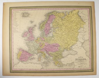 Vintage Europe Map 1852 Mitchell Cowperthwait Map of Europe, Unique Birthday Gift for Wife, 1st Anniversary Gift, European Decor Art Map