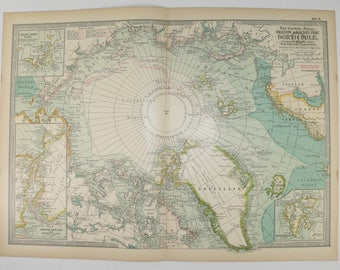 Old North Pole Map, Arctic Circle Map Greenland 1899 Antique Map, Unique Art Gift for Couple, Exploration History Buff Gift, Vintage Art Map