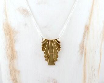 Gold Art Deco Necklace, Geometric Necklace, Art Deco Pendant, Mixed Metal Jewelry, 1920s Necklace