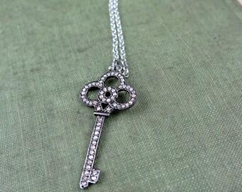 Pave Diamond Key Necklace, Pave Key Necklace, Key Pendant, Diamond Key,  Anniversary Gift