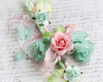 Embellished Straw Vine for Scrapbooking, Altered Art, Home Decor, Pink and Mint